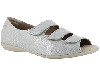 Ariel Silver Snake Print Suede