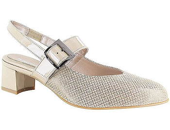 Maisy Champagne Shiny Scale Print Suede