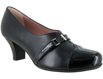 Ingrid Black Leather/Patent Combi