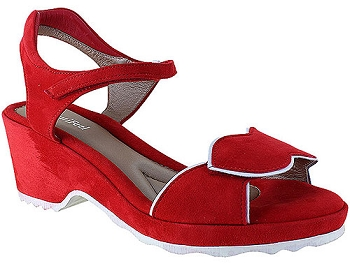 Emma Fire Red/White Suede Combi