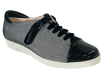 Cella Black/White Fine Mesh Suede